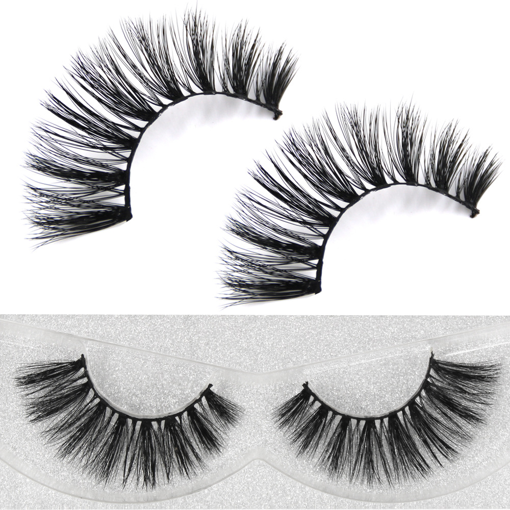 YOKPN New Arrival 3D Handmade Soft Mink Hair Fake Eyelashes Eyelash Volume Long Black Thick False Lashes Eye Lashes 1 Box 1 Pair
