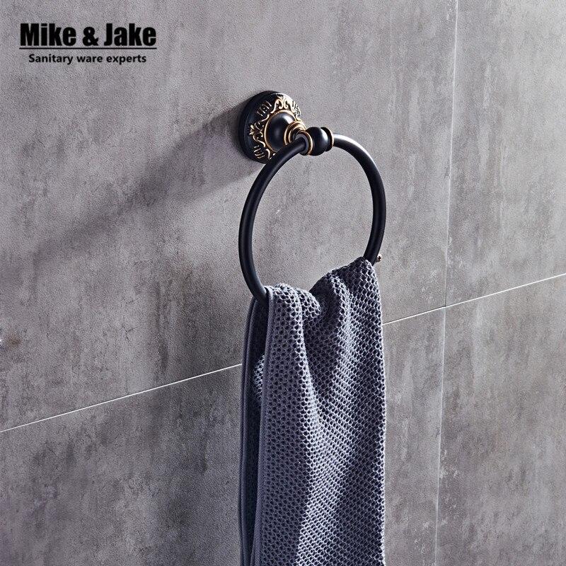 Bathroom Aluminum Towel Ring Holder Black And White Towel