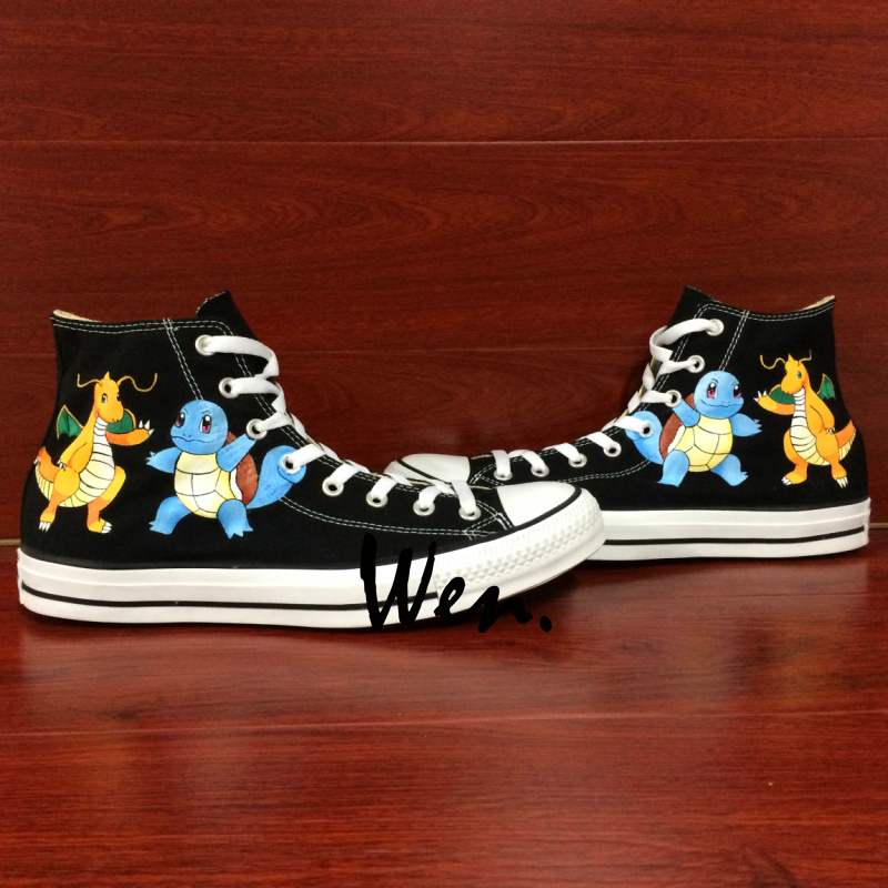 Wen Black Hand Painted Canvas Shoes Design Custom Anime Pokemon Squirtle Dragonite Men Women Gifts High Top Canvas Sneakers wen anime hand painted shoes design custom soul eater maka albarn death the kid high top men women s canvas shoes