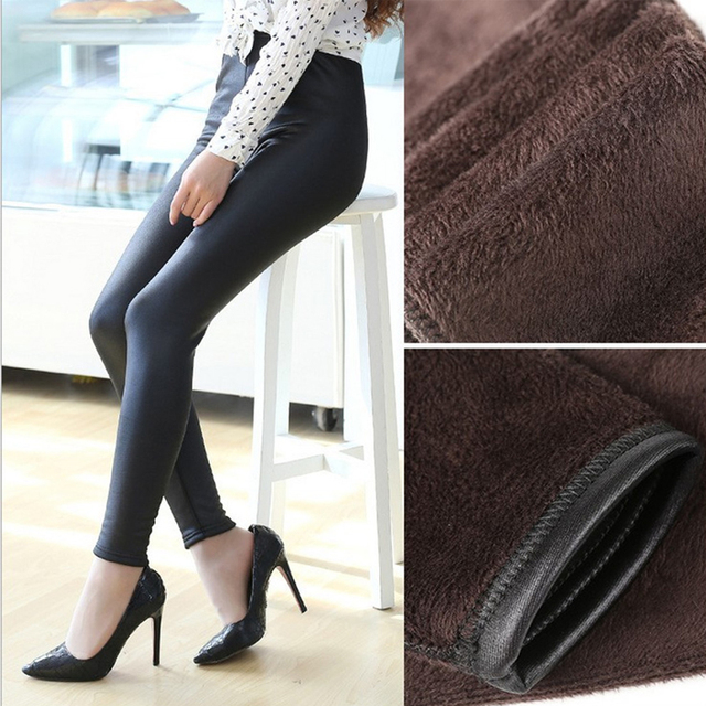 Elasticity PU Thick Winter Legging Jeggings Velvet Trousers For Women Fashion Fitness Leggings Women's Pants Plus Size Clothes