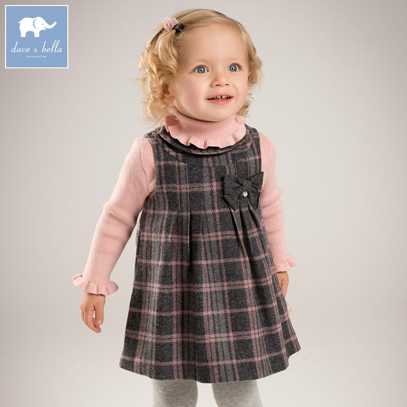 DB6126 dave bella autumn infant baby girls fashion plaid bow dress princess party birthday clothes children toddler wool clothes db3943 dave bella autumn baby girl pink dress infant clothes girls lace dress baby lantern sleeve birthday dress