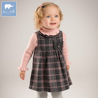 DB6126 Dave Bella Autumn Infant Baby Girls Fashion Plaid Bow Dress Princess Party Birthday Clothes Children