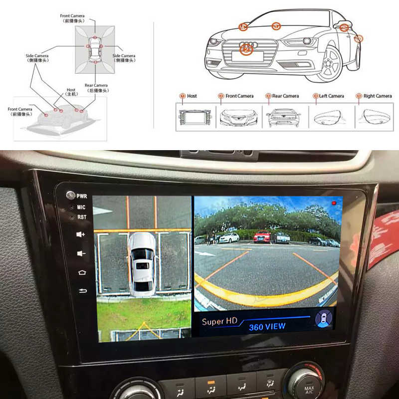 HD 720 P 3D 360 градусов панорамная система наблюдения птиц с 4 камерами, автомобильный парковочный панорамный обзор DVR видео рекордер монитор