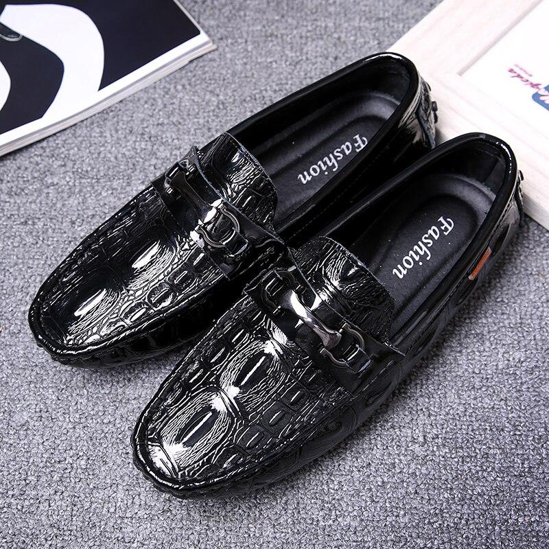 Moda 2018 Sapatos Homens Preguiçosos Dos Black Couro Novos Sapatas Em Lazer Deslizamento blue De Masculina 5 Casuais EqrrAZwW5I