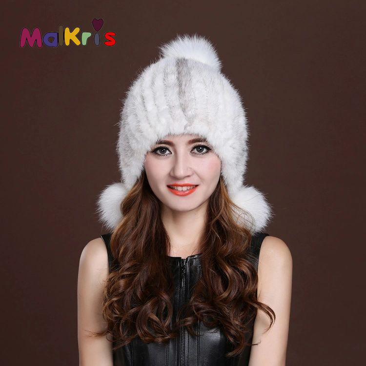 100% Real Mink Fur Hats For Women Winter Knitted Mink Fur Beanies Cap With Fox Fur Pom Bone 2016 Brand Fashion Thick Female Caps