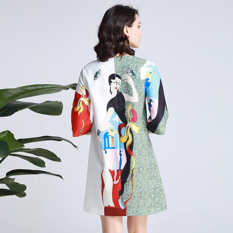 GoodliShowsi diseñador pasarela Vestido verano nuevas mujeres cuello redondo Vintage personaje estampado diamantes lentejuelas elegantes vestidos sueltos Bata-in Vestidos from Ropa de mujer    3