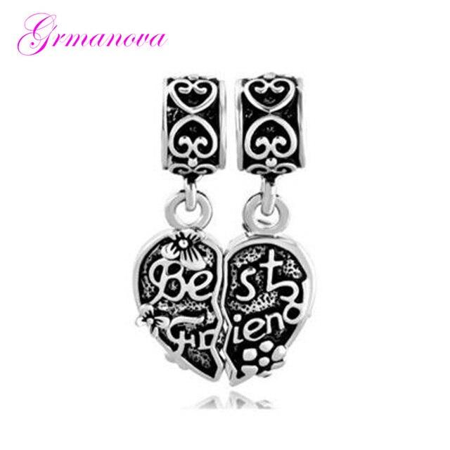 ec80898946f68 US $0.82 25% OFF Best friends heart shaped butterfly pendant charm bead DIY  jewelry classic pop amulet Fit Pandora Bracelet Women's DIY Jewelry -in ...
