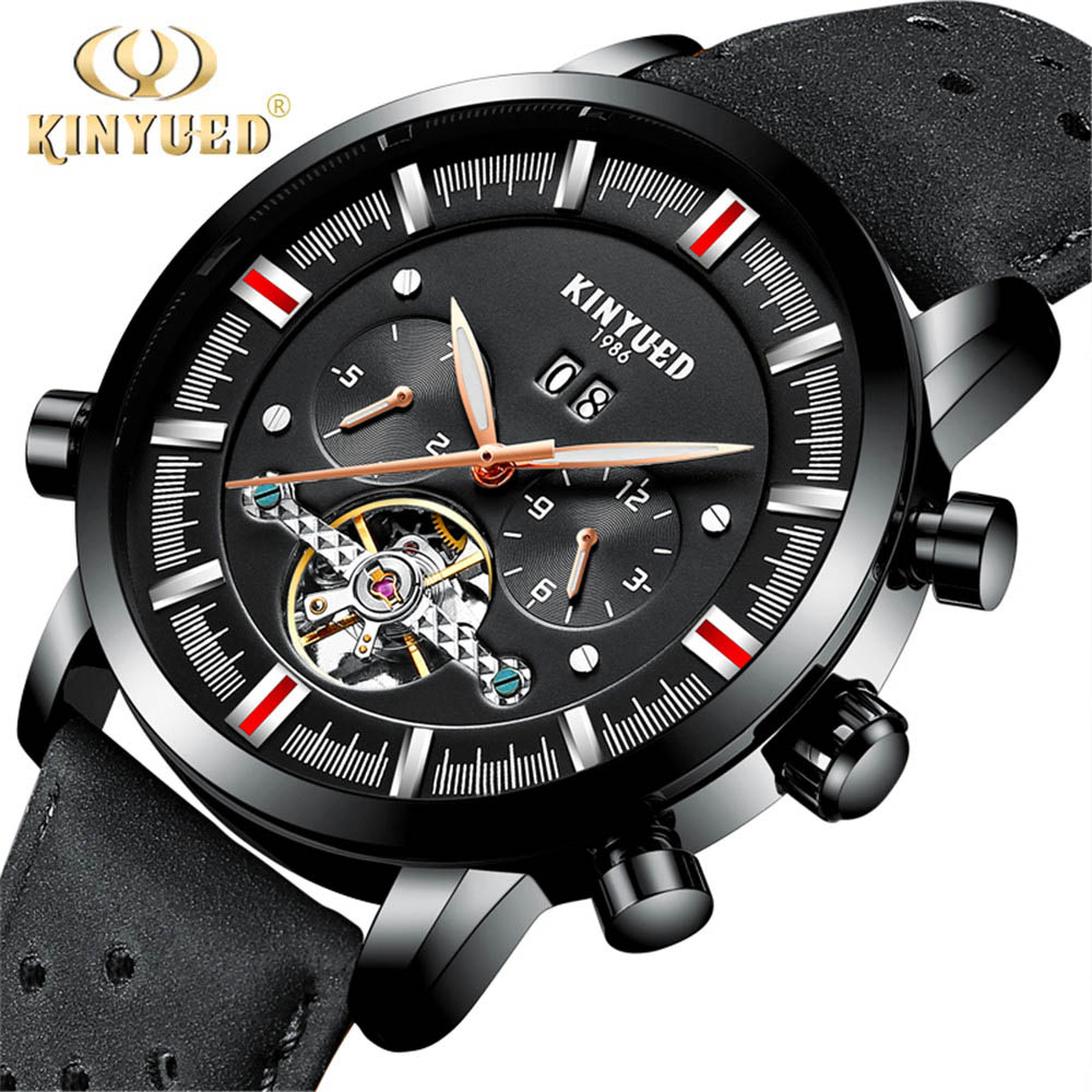 KINYUED Skeleton Mens Watches Top Brand Luxury Automatic Self Winding Tourbillon Calendar Mechanical Watch Men Reloj Hombre 2018 tourbillon auto mechanical mens watches top brand luxury wrist watch automatic clock men stainless steel skeleton reloj hombre