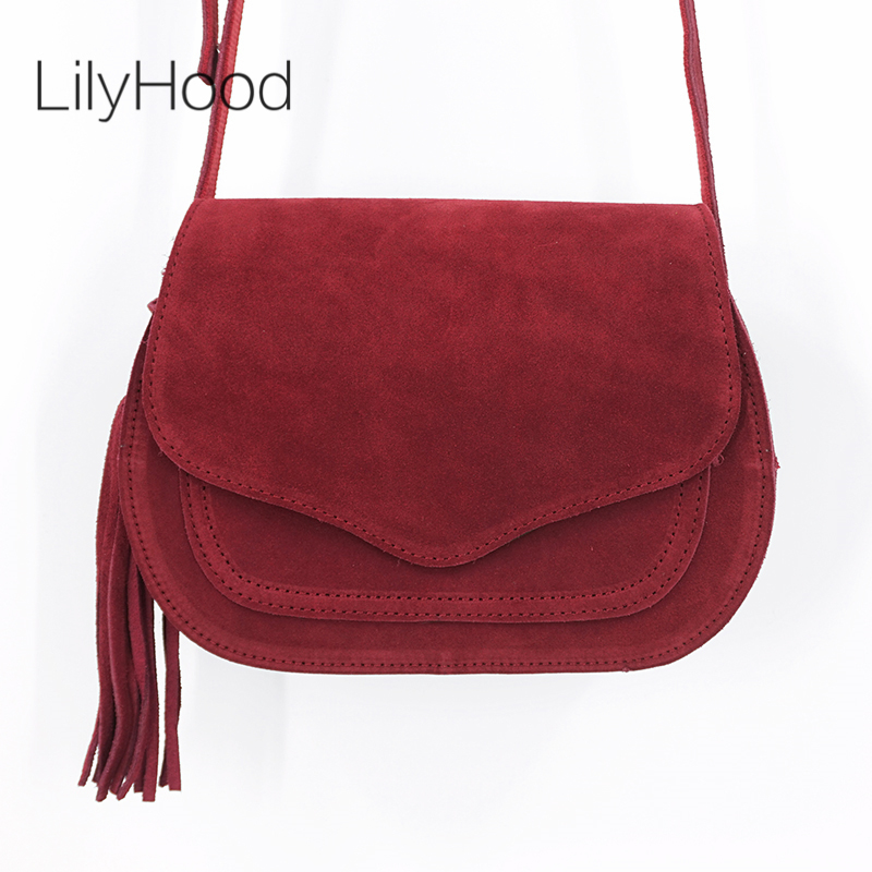 LilyHood 2018 Women Genuine Leather Saddle Bag Leisure Retro Bohemian Hippie Ibiza Fringe Burgundy Cross Body Over Shoulder Bag