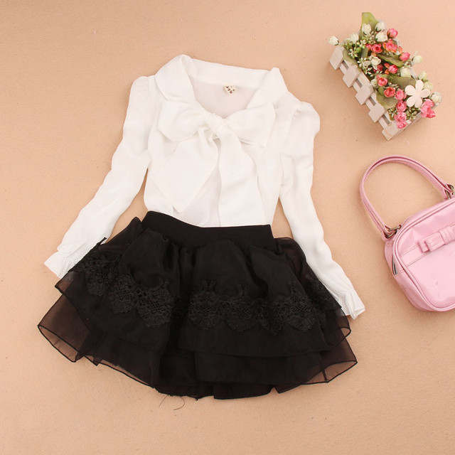 e6e3cbe66517 2018 Spring Autumn Child Long Sleeve School Girl Blouse Tops Baby Teenage  Girls White Yellow Kids