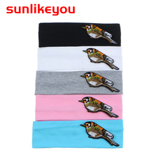 Sunlikeyou Newborn Turban Baby Headbands Bird Embroidery Boy Sport Breathable Cotton Elastic Hair Band For Girl Accessories