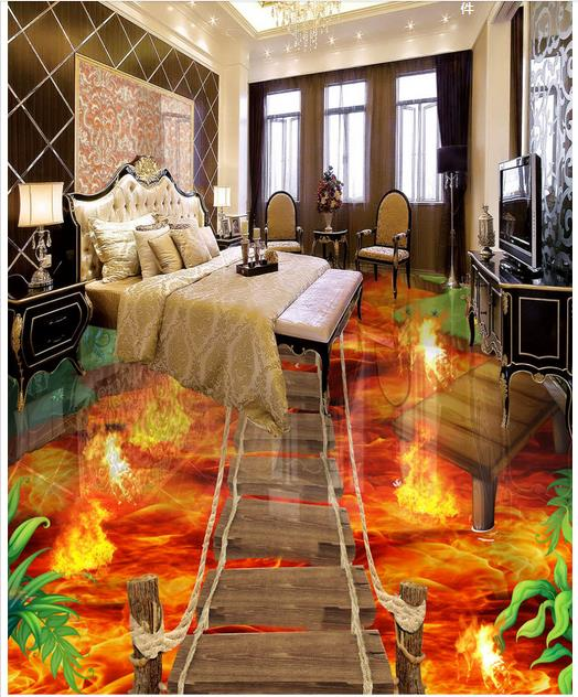 Us 17 92 65 Off 3d Wallpaper Custom 3d Flooring Painting Wallpaper Murals Flame To Draw 3 D Floor Tile Living Room Photo Wallpaper In Wallpapers
