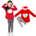 2016 Autumn 3pcs Baby Girls Clothes Sets Long Sleeves T Shirt Tops Pants Hair Band Outfits Children Clothing Suits Kids Toddlers