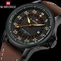 Homens esporte relógios quartz watch naviforce marca de moda casual relógios de pulso de couro relógios para homens à prova d' água relogio masculino
