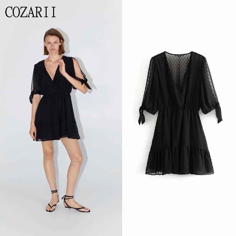 COZARII party dress sexy style solid black bow summer women vestidos de fiesta noche mini