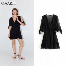 COZARII party dress sexy style solid black bow summer women vestidos de fiesta noche mini