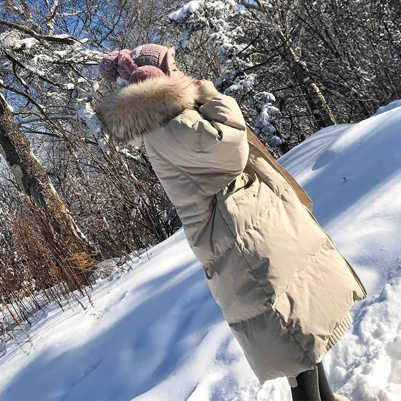 2019 Real Raccoon Mink Fur Collar New Loose   Down     Coat   Female White Duck   Down   Casual Oversize Hooded Jackets Ladies Warm   Coat   D29