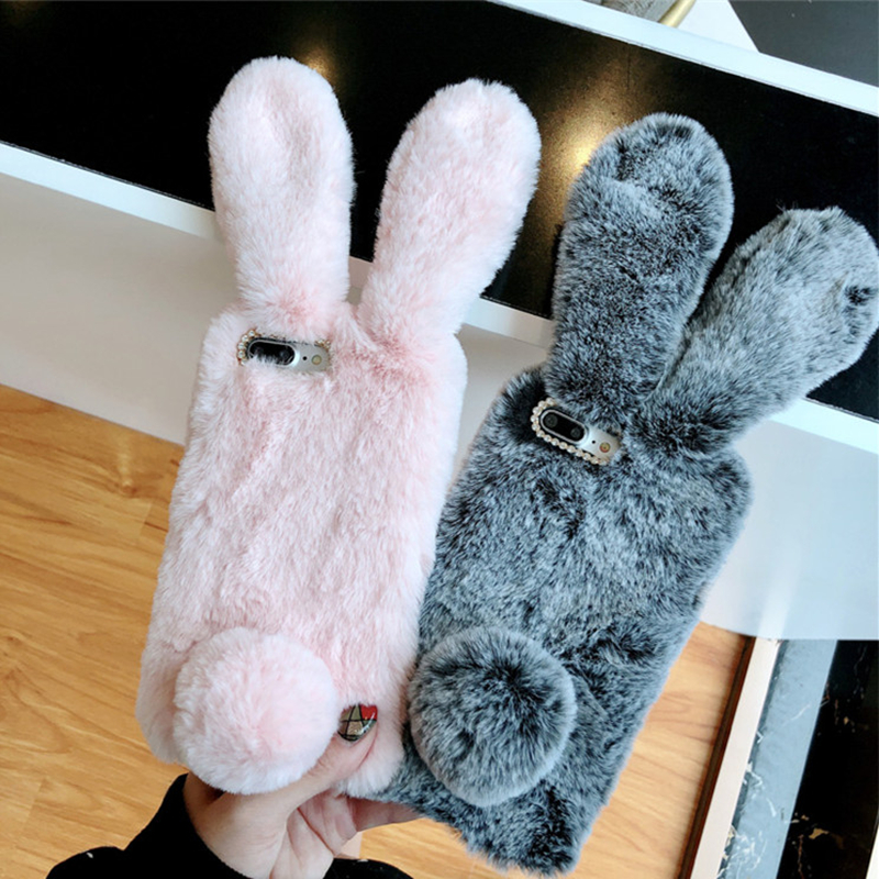 BINYEAE For iPhone 8 7 7 Plus 6 6S 6 Plus 5S SE Case Bunny Rabbit Warm Artificial Fur TPU Rhinestone Cover For Coque iPhone X