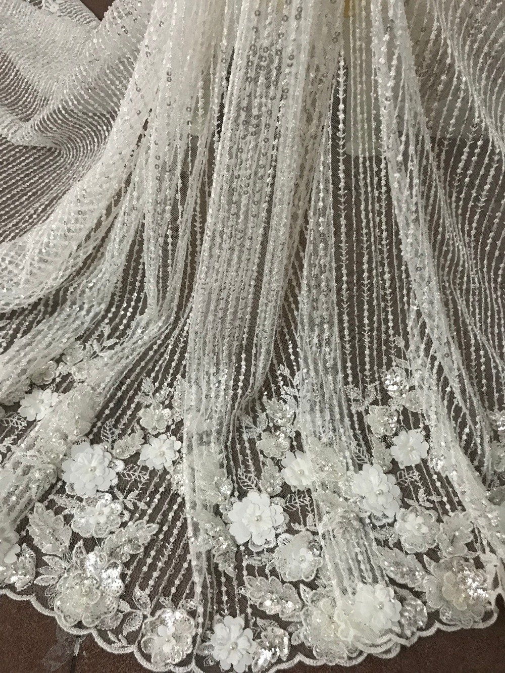 embroidery tull net lace fabric SYJ 6145 luxury romantic 3d flower lace for evening dress/fashion show