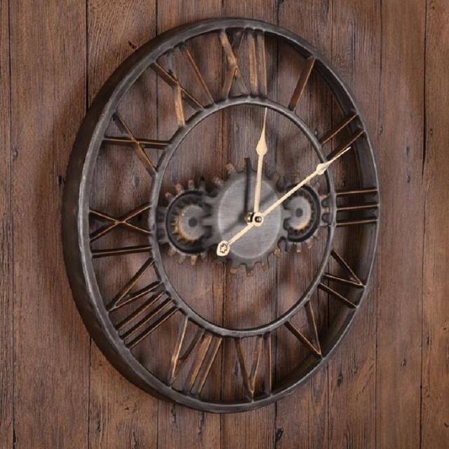 2017 New Metal Art Roman Figurines  Gear Wall Clock European Timer Fashion Wall Clock Home Decor Living Room Bar
