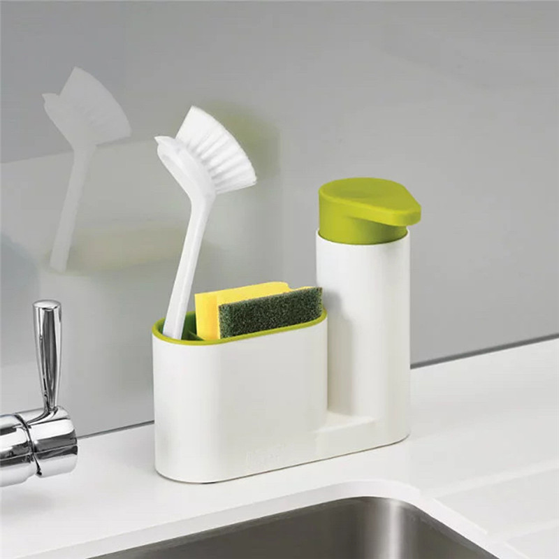 2 in 1 Multifunctional Kitchen Storage Rack Washing Sponge Brush Sink Detergent Soap Dispenser Bottle Kitchen Organizer Gadgets