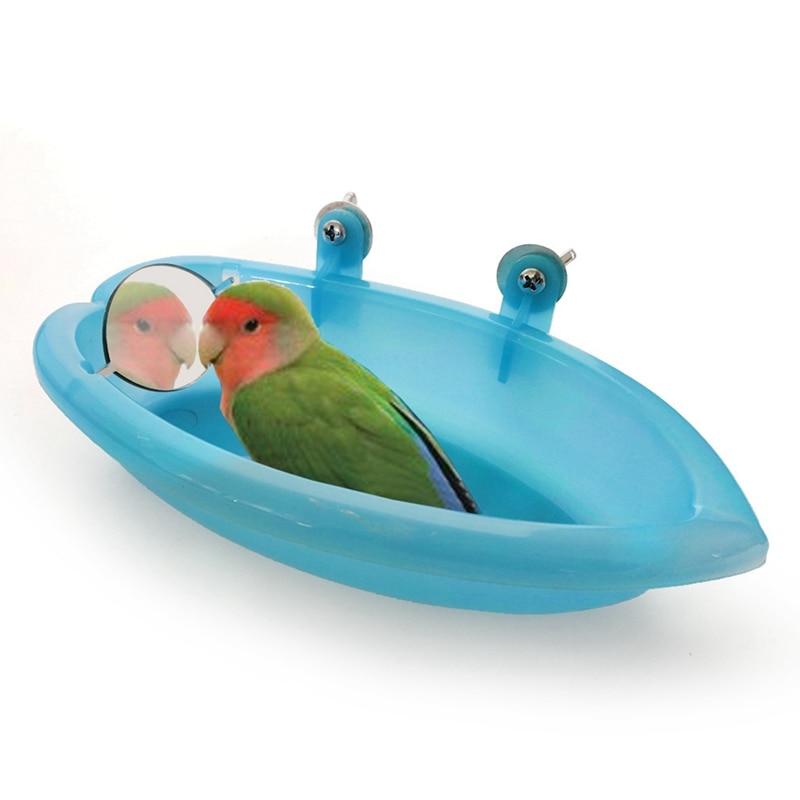Bird Bathtub With Mirror Pet Bird Bath Shower Parrot Bird Bathtub Parrot Bathing Supplies Standing Box Bird Cage Accessories