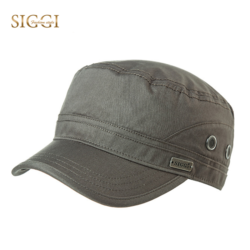 SIGGI Army Caps Spring Military Hat for Men Cotton Solid Adjustable Breathable Hole Brim Snapback Bonnet Gorras Male 89614