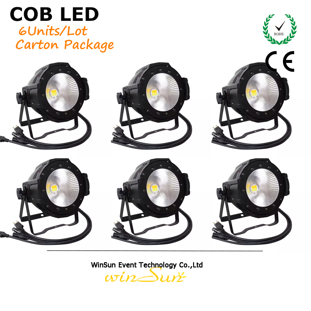 Litewinsune CW/WW 100W COB LED Par Can Lighting 3200K 5600K Wash Stage Lighting 6pcs  rasha brand 2 100w 2in1 cob ww cw led blinder light stage audience studio blinder light theater light