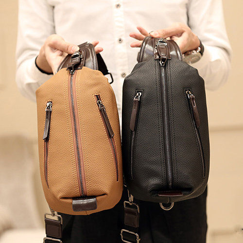 European style men PU leather chest bag fashion sling bags chest ...