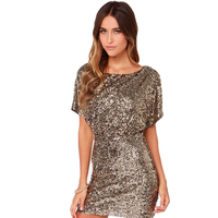 HAODUOYI Backless Sequined Vestidos Gold Sexy Short Sleeve Mini Dress Streetwear Office Lady Bodycon Dress For