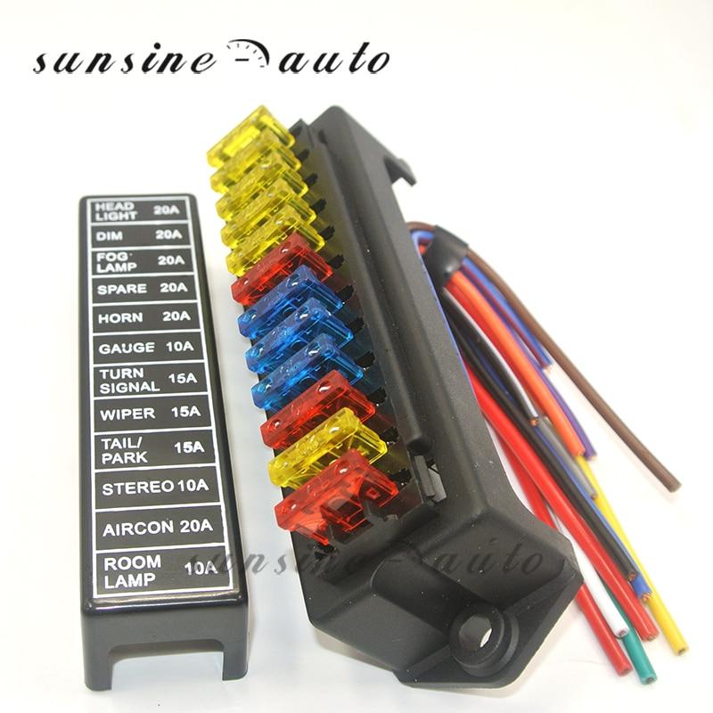 Auto Car Boat 10 Way Circuit Standard Blade Fuse Box Block Holder Set 12V 80A
