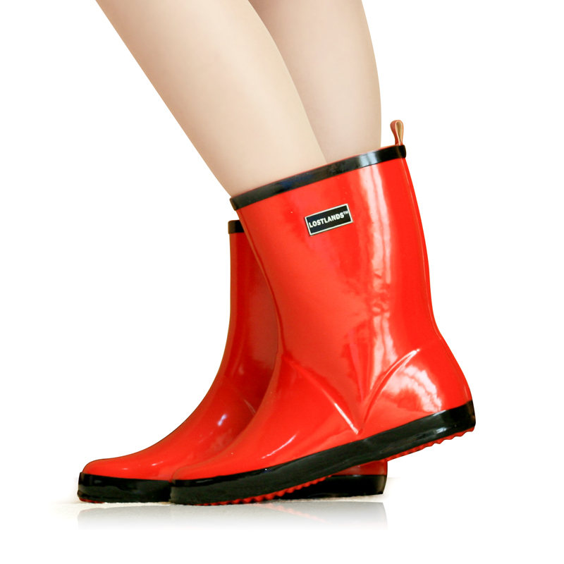 Womens mid-calf rubber rainboots handmade chelsea boots waterproof rain boots glossy candy red fashion boots for women free shipping fashion madam featherweight rubber boots rainboots gumboots waterproof fishing rain boots motorcycle boots