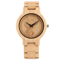 New Arrival Hand Made Men Wood Watch Quartz Deer Head Design Dial Wooden Bamboo Watchband Bracelet