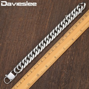 Image 2 - Davieslee 15mm Mens Bracelet Silver Color Curb Cuban Link 316L Stainless Steel Wristband Male Jewelry DLHB289