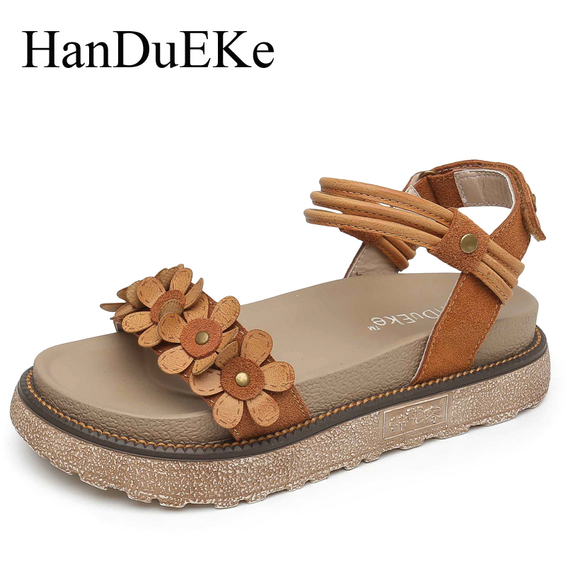 HanDuEKe Summer Fashion Flowers Women Sandals Casual Cow Suede Women Gladiator Sandals Ladies Platform Shoes Woman Beach Shoes phyanic 2017 gladiator sandals gold silver shoes woman summer platform wedges glitters creepers casual women shoes phy3323