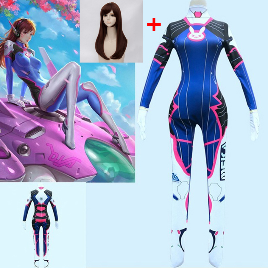 Game Overwatch Dva Cosplay Costume 2019 3D Printing Ladies And Women's Clothing D VA Ladies  Cosplay Dva Zentai LICRA Dva Bodysu