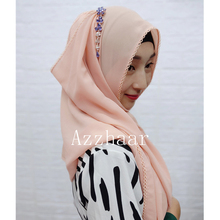Simple Style Woman hijab Solid Color Rhinestone Chiffon Silk Popular Shawls Scarf Headband Muslim Turban abaya Free Shipping