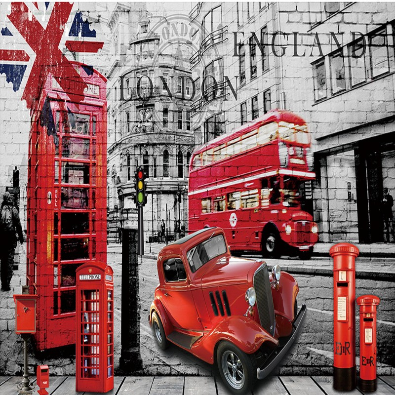 Custom 3d Wallpaper Nostalgic Retro British Bus Red Phone Booth