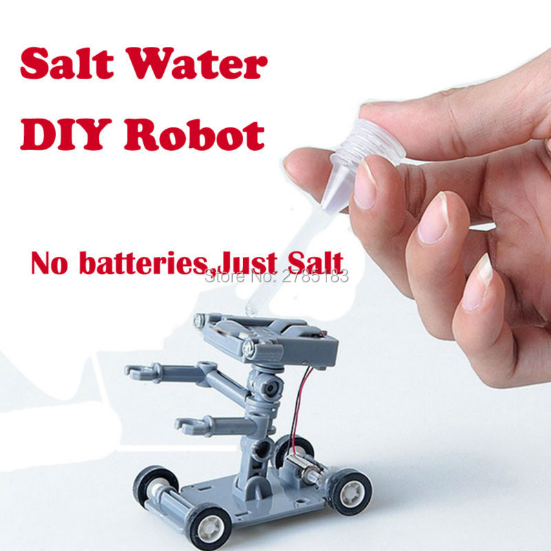 Construction Robot Powered Kit DIY Toys Science and Technology Toys Salt Water Robot Experiment Educational Toys for children r7s 17w 1620lm 5000k 72 led white light bulb yellow white ac 85 265v