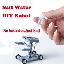 Строительный робот с питанием Набор DIY Игрушки Наука и техника игрушки соленая вода робот эксперимент Развивающие игрушки для детей