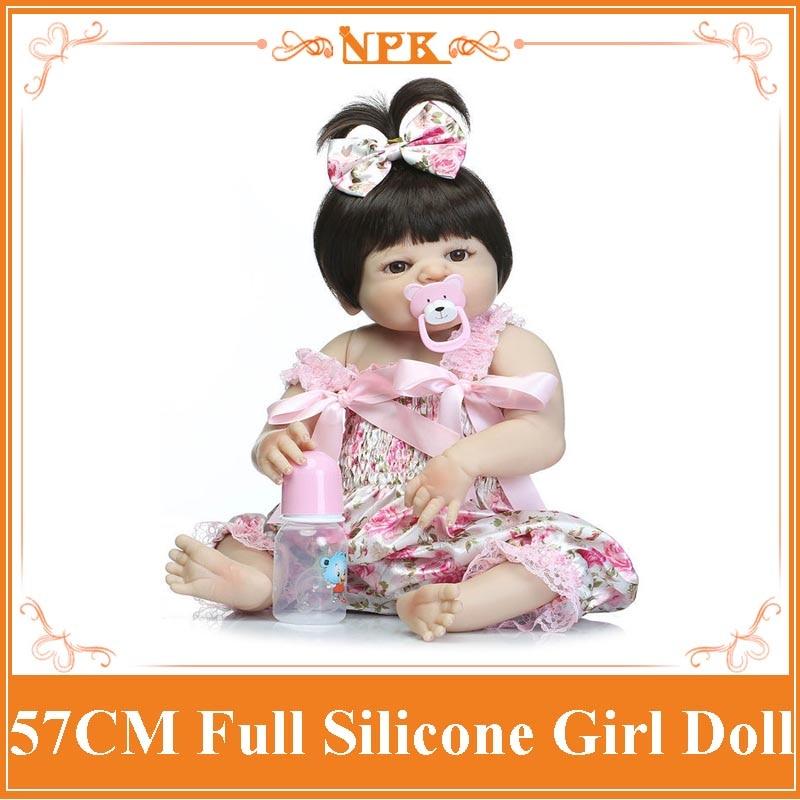 NPK Girl Doll Reborn Babies 22INCH 57CM Full Silicone Vinyl Body As Children Kids Play House
