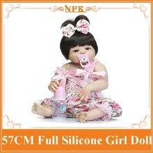 NPK Girl Doll Reborn Babies 22INCH 57CM Full Silicone Vinyl Body As Children/Kids Play House Toys Boneca Reborn Girl Brinquedos