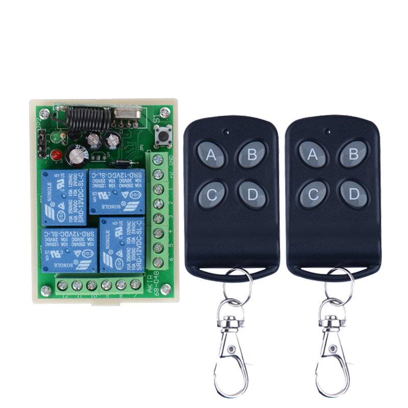 DC12V 10A 4 Channel RF Wireless Remote Control Relay Switch/Radio System Receiver&Transmitter 315Mhz/433Mhz rf 2 channel 315mhz 433mhz 85v 250v wireless remote control relay switch 2 radio transmitter and 1 receiver controller system