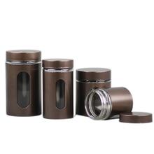 Xin Jia Yi Packaging Tin Glass Bottle Round Screw Window Canister Tea Coffee Sugar Nuts Jar Storage Glass Bottles Bins цены