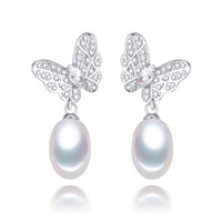 8 9mm AAA drop butterfly freshwater pearl earring with 925 stelring silver