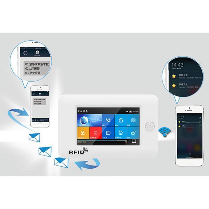 4,3 дюймов полный сенсорный Цвет Экран 433 МГц GSM Противоугонная система ЕС, США, Великобритании, Wi-Fi, двойной сети сигнализации Системы