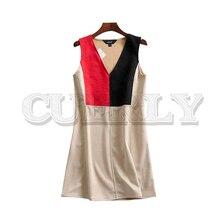 CUERLY women vintage patchwork V neck mini dress sleeveless office wear summer A line dresses vestidos