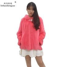 Linhaoshengyue Long sleeve with hooded 2016 mink fur coat