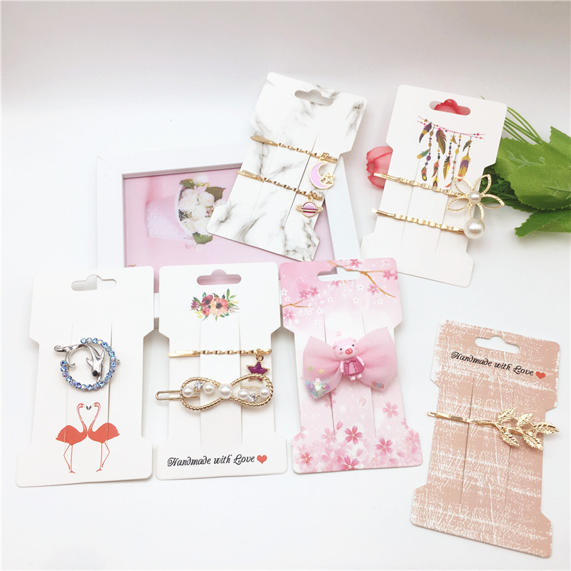 50pcs 11.5x6.6cm Paper Handmade With Love Hairpin Jewelry Accessories Packaging Card Single Clip/Headdress Display Card