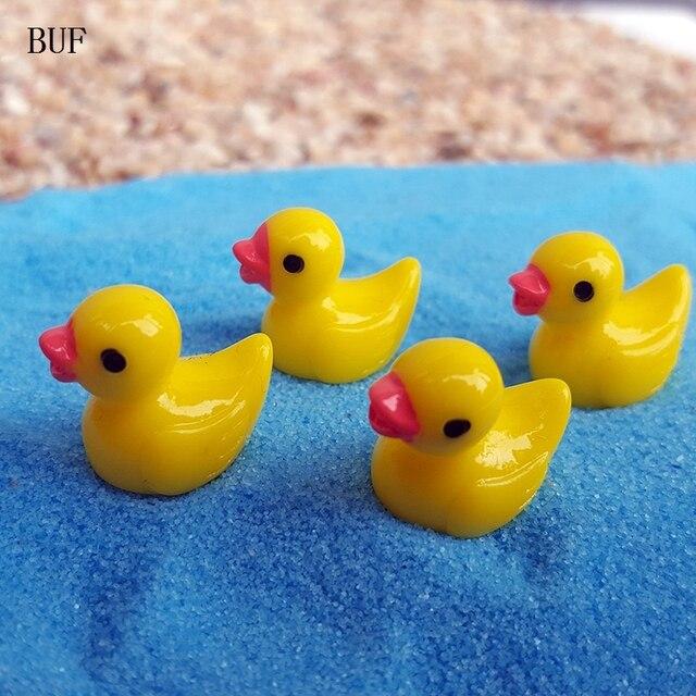 BUF 10Pcs/Set Micro Landscape Ornaments Little Yellow Duck Statue Mini DIY  Decoration Small Garden